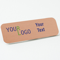 name tag color printed brushed aluminum copper round corners