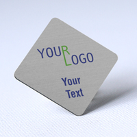 custom name tag color printed brushed aluminum silver diamond shape