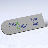 custom name tag color printed brushed aluminum silver special shape 1