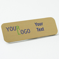 name tag color printed brushed brass round corners