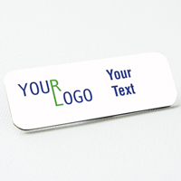 name tag color printed white metal round corners