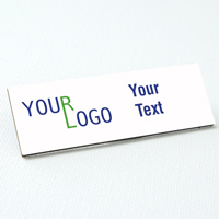 name tag color printed white metal square corners