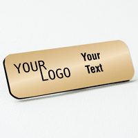 name tag engraved plastic brushed gold black round corners