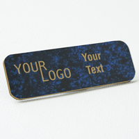 name tag engraved plastic celestial blue gold round corners