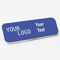name tag engraved plastic purple white round corners