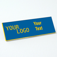 name tag engraved plastic sky blue yellow square corners