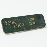 name tag engraved plastic verde gold round corners