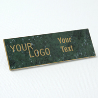 name tag engraved plastic verde gold square corners