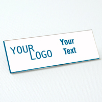 name tag engraved plastic white skyblue square corners