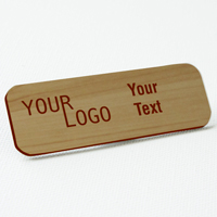 name tag engraved plastic cashew wood darkbrown round corners