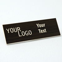 name tag engraved plastic kona wood ash square corners