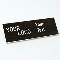 name tag engraved plastic kona wood white square corners