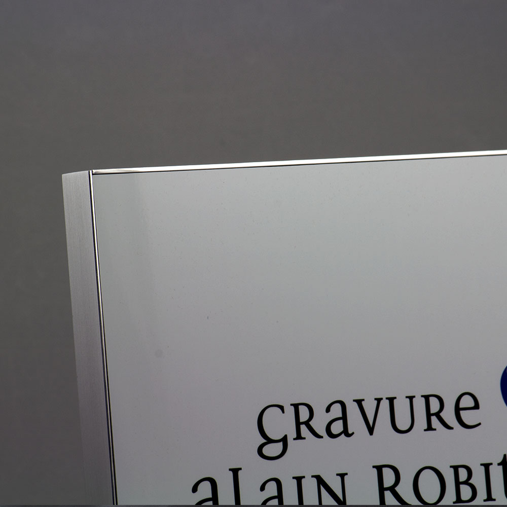 award plaque bloc metal printed - mirror finish frame