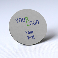 custom name tag color printed brushed aluminum silver round shape