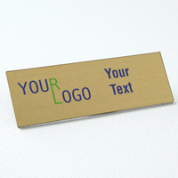 name tag color printed brushed brass square corners