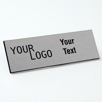 name tag engraved plastic brushed aluminum black square corners