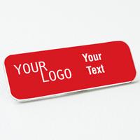name tag engraved plastic crimson white round corners