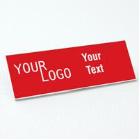 name tag engraved plastic crimson white square corners