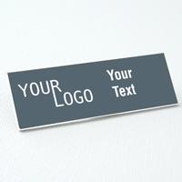 name tag engraved plastic smokegrey white square corners