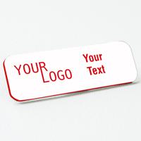 name tag engraved plastic white crimson round corners