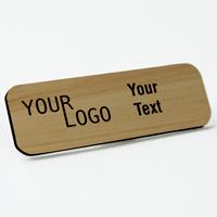 name tag engraved plastic cashew wood black round corners