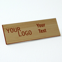 name tag engraved plastic cashew wood darkbrown square corners