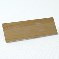 name tag engraved plastic cashew wood taupe square corners