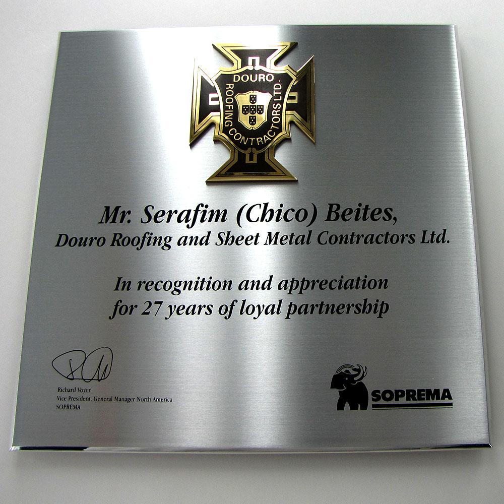 award plaque - honora - mirror - brass piece