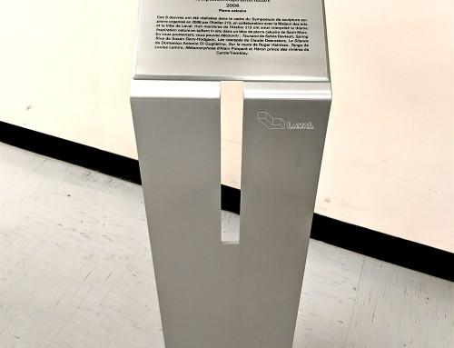 Plaque on pedestal – aluminum – exterior